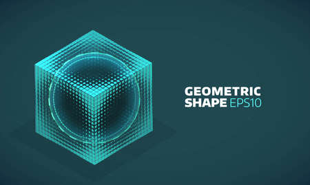 grid: Vector sphere in cube isometric hologram. Abstract geometric flat shape