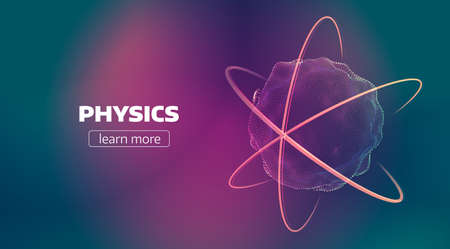 Abstract nuclear illustration. Atom discover banner background Stock fotó
