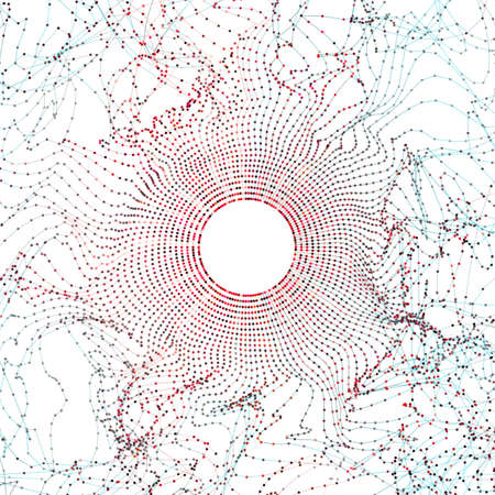 Abstract big data illustration. Particle circle grid glitch and wave. Digital bigdata background