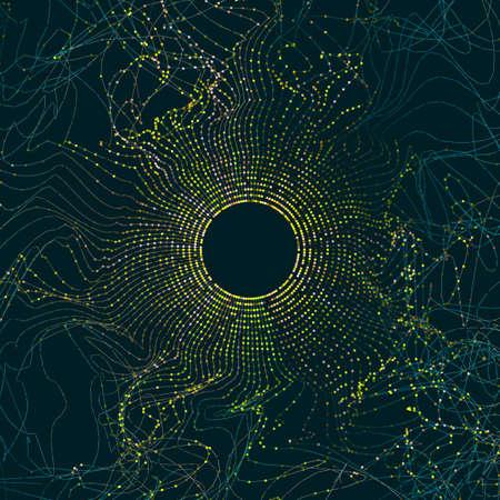 Ilustración abstracta de datos grandes. Giro y onda de cuadrícula de círculo de partículas. Fondo de Bigdata digital