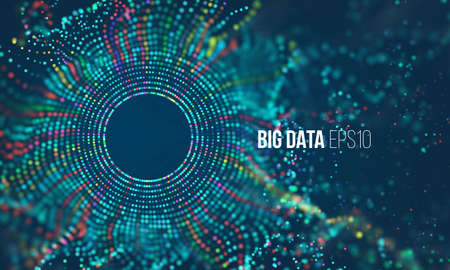 Abstract colorful particle grid with bokeh. Science dust with glow. Futuristic bigdata visualization Stock Illustratie