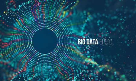 Abstraktes farbiges Teilchenraster mit Bokeh. Wissenschaft Staub mit Glühen. Futuristische bigdata visualisierung Vektorgrafik