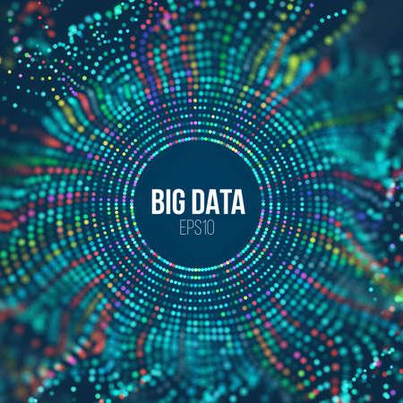 Circle grid wave. Abstract bigdata science background. Big data innovation technology Illustration