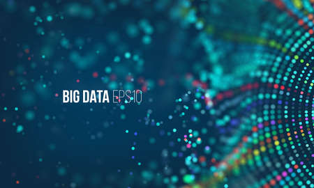 데이터 정렬 흐름 프로세스. 큰 데이터 스트림 미래의 infographic. 보크와 글로우가있는 다채로운 입자 파