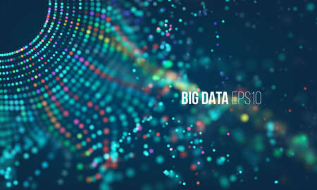 Data sorting process. Big data futuristic infographic. Colorful particle grid with bokeh