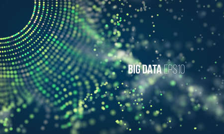 Abstract coding process. Big data futuristic infographic. Colorful particle grid with bokeh and light