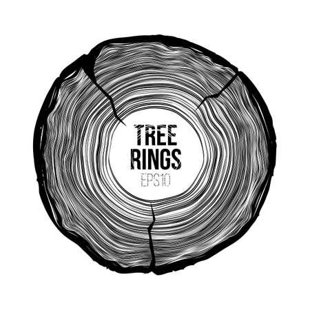 Gli anelli dell'albero di vettore affettano con la crepa. Trama di vita annuale. Modello Woodgrain Archivio Fotografico - 85254018