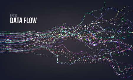 Data flow vector illustration. Digital information noise stream. Blockchain binary structure Vector Illustration