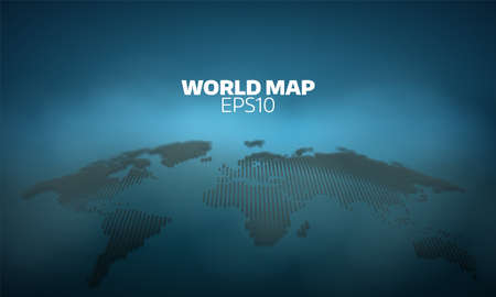 Abstract world map dot grid background. geography atlas Çizim