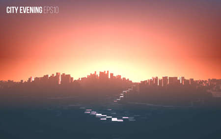 Abstract vector city sunset. Cityscape with for and sunlight background Stock Illustratie
