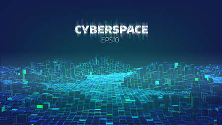 Cyberspace game city. Internet of Things. Futuristic technology vector background