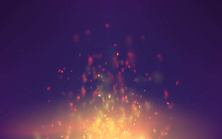 Flame vector background with sparks particles. bonfire smoke fantasy flying sparks.