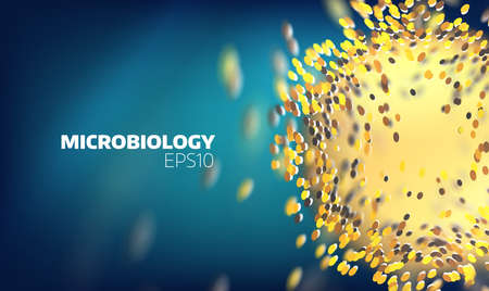 Microbiology cell explore. Molecular view. Medical technology abstract background Illustration