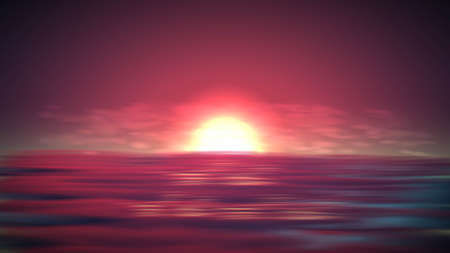 Sea sunset vector background. Romantic landscape with red sky on ocean. Abstract summer sunrise view