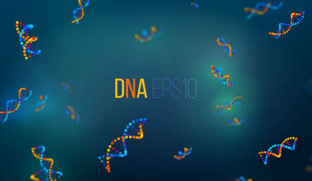 추상 DNA 벡터 배경, 생물학 과학 그림. 생화학 프리젠 테이션 커버 패턴 배너. 일러스트