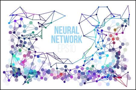 신경 네트워크 그림입니다. 추상적 인 기계 학습 과정 기하학적 데이터 커버 배경. 일러스트