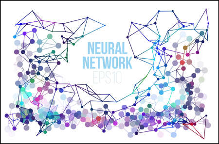 Neural network illustration. Abstract machine learning process geometric data cover background. Illustration