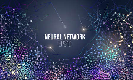 Neural network illustration. Abstract machine learning process geometric data cover background. Stock fotó - 94825137