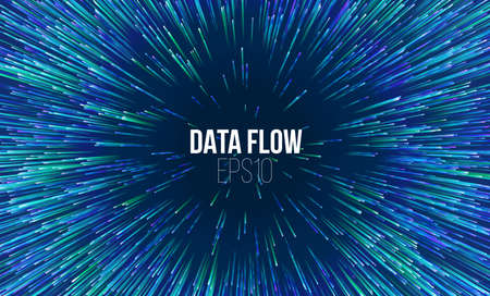 Abstract data flow tunnel. Circular geometric star pattern music explosion radial background.