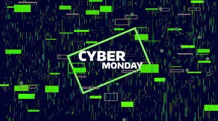 사이버 월요일 판매 배너. 전자 디지털 글리치 또는 잡음. 기하학적 카오스 모션, 금요일 판매 배너.