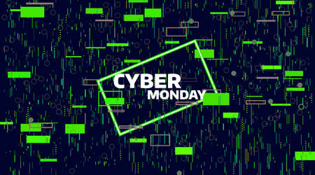 Cyber Monday sale banner. Electronic digital Glitch or noise. Geometric chaos motion, Friday sale banner. Illustration