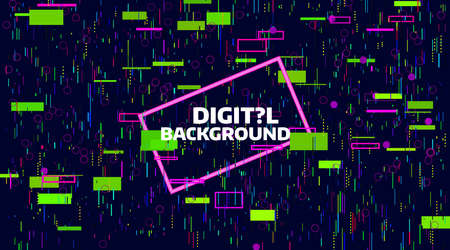 Abstract digital geometric background. Bright color data chaos. Glitch and noise defect and distortion banner