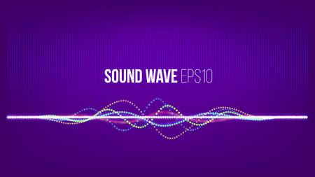 사운드 웨이브 벡터 추상적 인 배경입니다. 커버 또는 프리젠 테이션을위한 울트라 바이올렛 배경의 입자 및 점. 기술 음악 신호 배너 일러스트