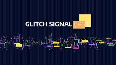 잡음 글리치 신호. 데이터 흐름 버그 및 손상. 신호 디지털. 기하학적 혼란 배너 일러스트