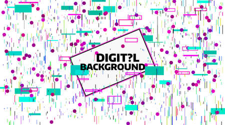 추상 디지털 기하학적 배경입니다. 밝은 색상의 데이터 카오스. 글리치 및 노이즈 결함 및 왜곡 배너