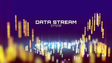 Abstract data stream analytics. Innovation futuristic digital presentation background