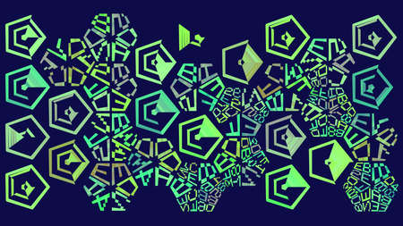 Binary and Hexadecimal cyberpunk geometric print. Sorting hexagon abstract background