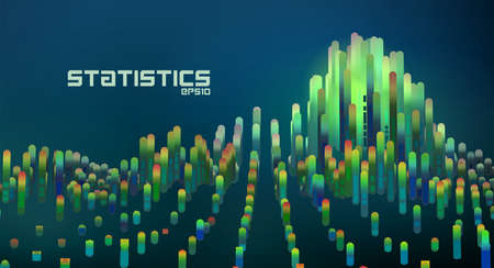 Abstract futuristic data diagrams in minimal gradient lines info graphic illustration.