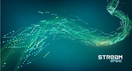 Particle motion flow trails. futuristic data stream. Energy sparkle digital effect