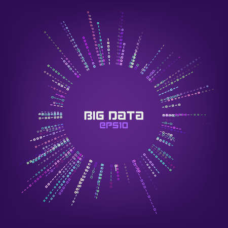 Circle bigdata abstract vector background. Digital columns of information. Big data concept