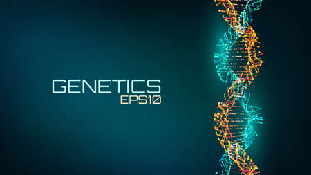 Abstract fututristic dna helix structure. Genetics biology science background. Future medical technology. Vettoriali