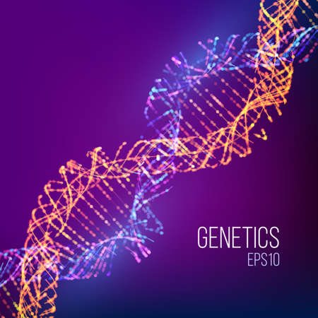 Abstract illustration with blue dna for medical design. Genome vector illustration. Science background. Abstract vector dna structure background.
