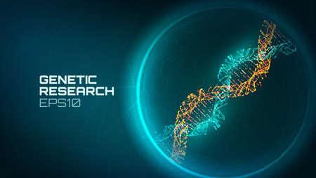 Priorità bassa di vettore dell'elica del DNA. Processo di ricerca genetica. Gene modificato. Fondo di tecnologia del DNA di biologia di scienza