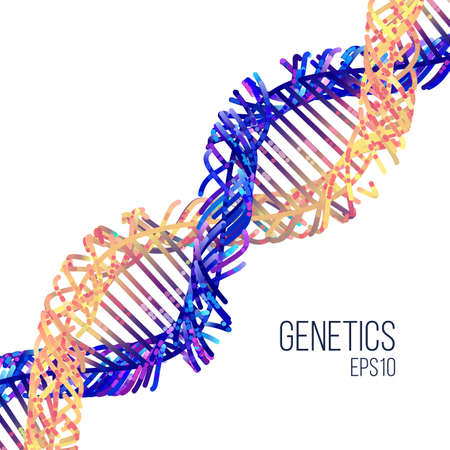 Minimal dna helix flat illustration on the white background Stock fotó - 98896517