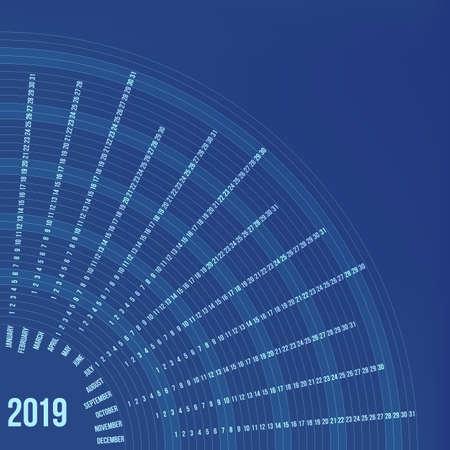Circular calendar 2019 year, minimal date poster concept illustration.