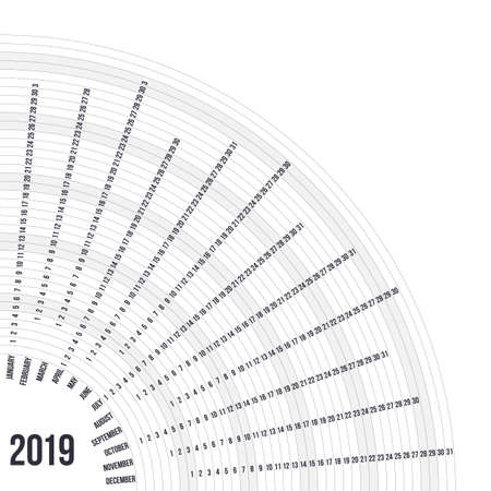Circular calendar 2019 year. Minimal date poster concept