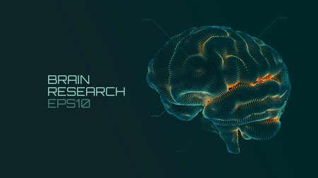 Brain research futuristic medical ui. IQ testing, artificial intelligence virtual emulation science technology Vettoriali