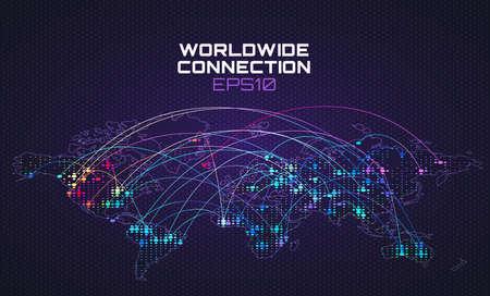 Worldwide internet social communication. Data stream trajectory, cloud computing abstract background. Global network Stock fotó - 103738833