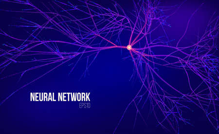 Neural network 3d abstract vector illustration. Data tree with root. Information stream. Kernel computing system Stock fotó - 103738834