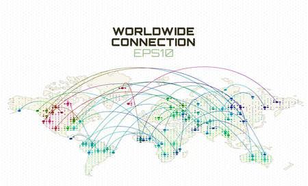 Worldwide internet social communication. Data stream trajectory, cloud computing abstract background. Global network Stock fotó - 103738835