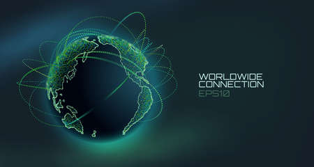 Worldwide connection abstract vector globe. Telecommunication technology line with trajectory of information data. USA to Europe stream