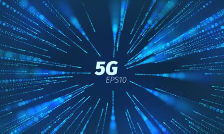 Canale dati superveloce 5g. Connessione senza fili del loop di velocità. Scie di movimento delle particelle volanti Vettoriali