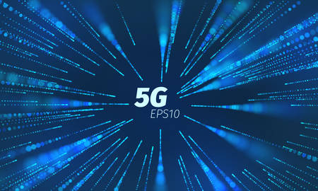 5g superspeed data channel. Wireless speed loop connect. Flying particle motion trails