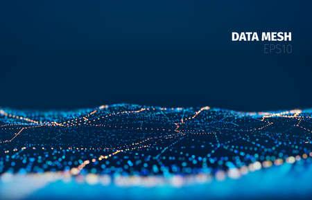 Vektor-Partikel-Gitter-Technologie-Hintergrund. Datennetzoberfläche. Digitales Nachtlicht in der Landschaft