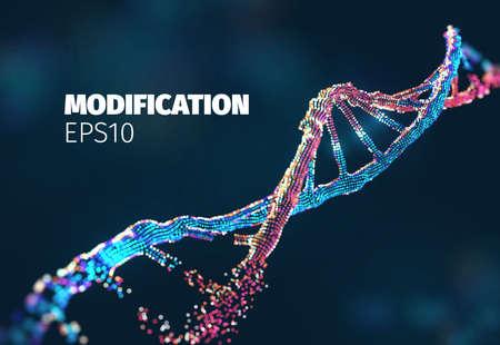 Biotechnologie-Vektor-Hintergrund. Gentechnik. DNA geändert. Forschungslabor für Gen-Editing