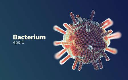 Bakterienforschung. 3d abstrakter Vektor digitaler Medizin Wissenschaft Hintergrund. Virtuelles Scannen des Gesundheitszustands auf Viren und Bakterien Vektorgrafik